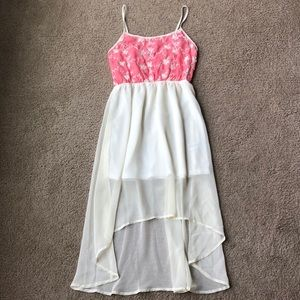 Pink and ivory high low dress size s